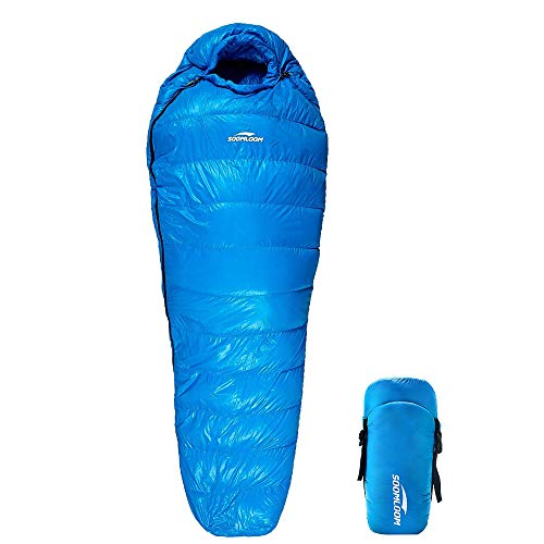 Soomloom マミー型 高級ダウン650FP寝袋 登山 シュラフ/キャンプ アウトドア 防災用 避難用 防水 (ブルー, 羽毛量600g)
