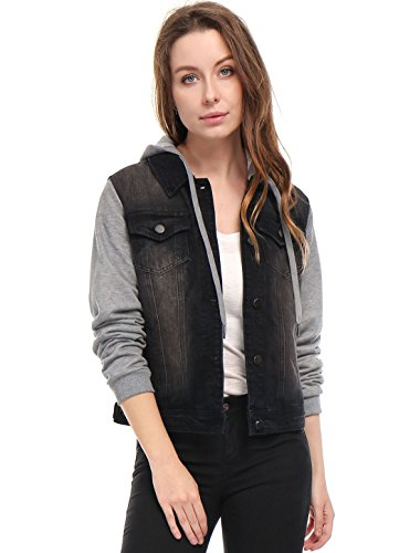 Womens Layered Drawstring Hood Denim Jacket