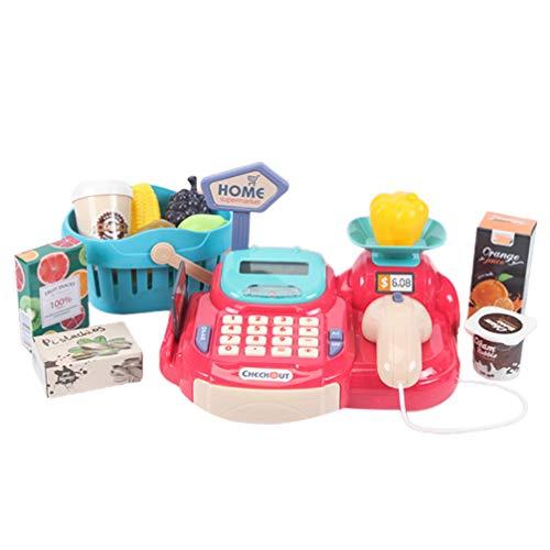 NUOBESTY Caja Registradora Pretend Play Supermercado Tienda Juguetes con Calculadora Escáner de Trabajo Tarjeta de Crédito Jugar Alimentos Dinero para Niños Niños Niñas Niños