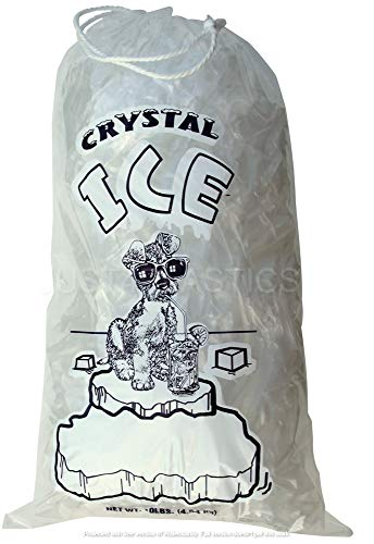 Ice Bags with Drawstring Heavy Duty Commercial Grade (10 lb Pack 500)