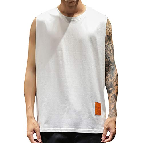 Refulgence Tank Tops for Men Workout Gym Summer Casual Short Slim Fit Elastic Tops (White,XL)