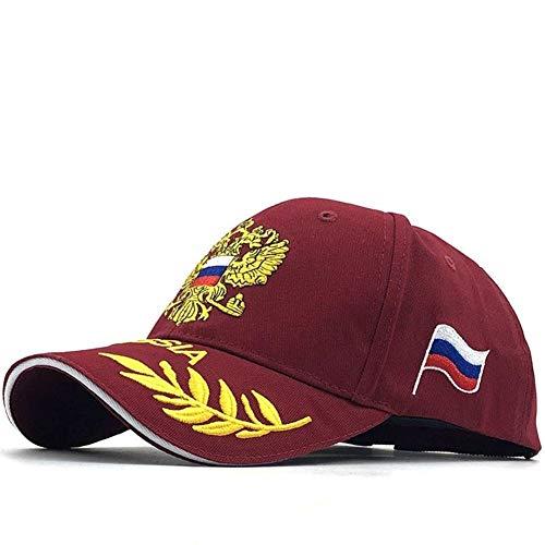 JYXMY 2020新しいロシアの双頭の鷲野球帽コットンブラックファッションメンズキャップは、キャップスナップバック帽子11スタイル野球帽サンハットをピークド (Color : 3 wine red)