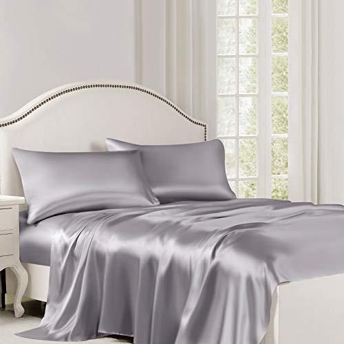 ElleSilk 100% Seide Bettlaken, Luxuriöse Betttuch, 22 Momme, Hochwertigste Maulbeerseide, Natürlicher Farbstoff, Natürlich Atmungsaktiv, Double 220 x 260 cm, Silber