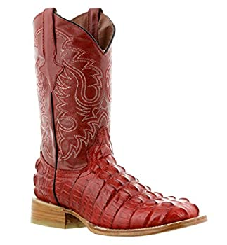 Mens Red Western Cowboy Boots Alligator Tail Print Leather Square Toe 9.5 2E US