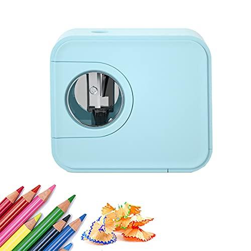 KUMADAI Sacapuntas con Deposito Ninos Electrico (6-8 mm) Profesional Nina para NiñOs Profesores Artistas Uso DoméStico y Escolar,Azul