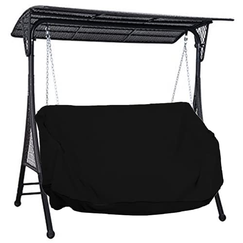 Hanging Porch Swing Cover Hammock Swing Cover Water Resistant Oxford Fabric Outdoor Swing Chair Cover Canopy Replacement Cover All Weather Protected Patio Swing Furniture Cover-61x28x(35-28)'' (Black)