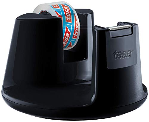 Tesa Easy Cut Compact 53827-00000-00 - Dispensador de cinta adhesiva (1 rollo, 10 m x 15 mm), color negro