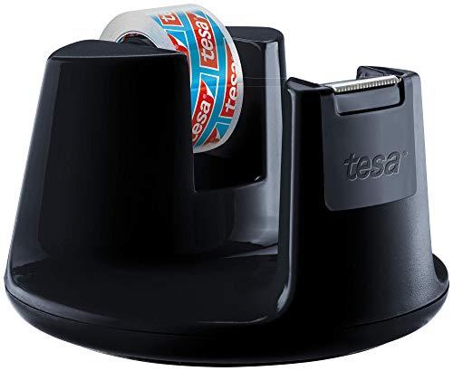 Tesa Easy Cut Dispenser da Banco Compact - Porta Nastro Adesivo Contemporaneo, Nero con Incluso 1 x Biadesivotrasparente, 10 m x 15 mm