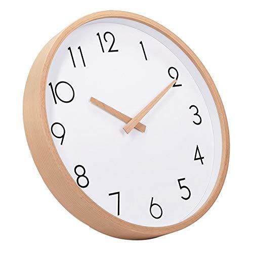 JISKGH Reloj de Pared Madera 12 Pulgadas Silencioso Relojes de Pared de Madera Grande Reloj de Pared Digital Sin Tictac para Mesa de Noche Cocina Oficina DecoracióN para el Hogar Antiguo