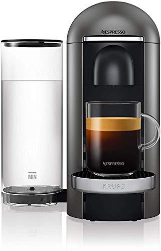 Krups Nespresso XN900T Vertuo Plus Kaffeekapselmaschine, Titanium/Edelstahl, 1,7 l Wassertank