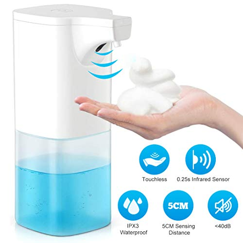 Automatic Soap Dispenser - SKEY 11.8oz/350ml Waterproof Electric Countertop Touchless Foaming Soap Dispenser Auto Hand Free with Smart Infrared Sensor for Bathroom Kitchen Toilet Office Hotel