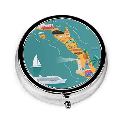 Portapillole tondo con 3 scomparti Mappa della spiaggia di Cuba Luoghi d'interesse cubani Sigari donna Esplora