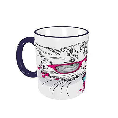 Taza de café Gato Lindo con la cámara Tazas de café Tazas de cerámica con Asas para Bebidas Calientes - Cappuccino, Latte, Tea, Cocoa, Coffee Gifts 12 oz Navy Blue