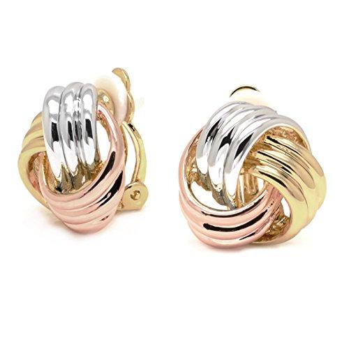 sparkly sposa three-tone placcato in rodio, oro giallo e rosa tricolore Love Knot Fashion orecchini a clip