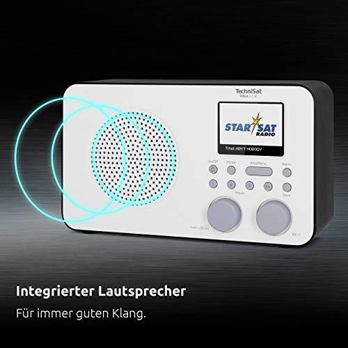 TechniSat VIOLA 2 C IR - tragbares Internetradio (DAB+, UKW, WLAN, 2.4 Zoll Farbdisplay, Kopfhöreranschluss, Wecker, Sleeptimer, 3 Watt RMS, Akku, Netzteil) weiß/schwarz