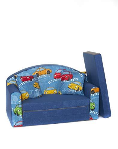 Coco-Baby Sofá Foam Juguete Cama para niños + Puf/Reposapies y Almohada ((1SN) Small Cars Navy)
