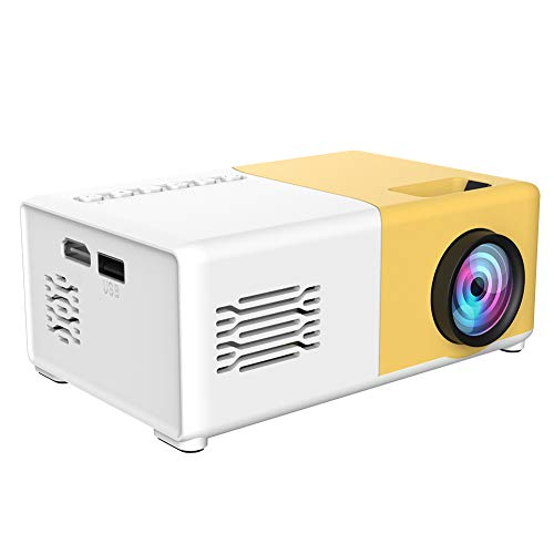 1080P Projector, Mini Video Projector, Portable HDMI Projector with 30,000Hrs LED Life, Home Theater Projector Compatible with TV Stick/HDMI/VGA/AV/USB (Yellow)