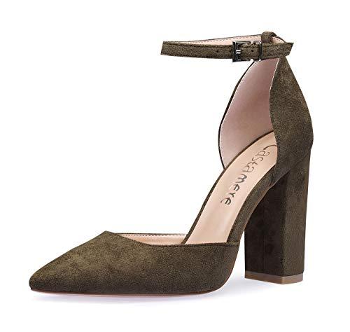 CASTAMERE Damen Ankle-Strap Sandalen Spitzen Zehen Rechteckig Blockabsatz Pumps 10CM Grün Olive Wildleder Schuhe EU 43