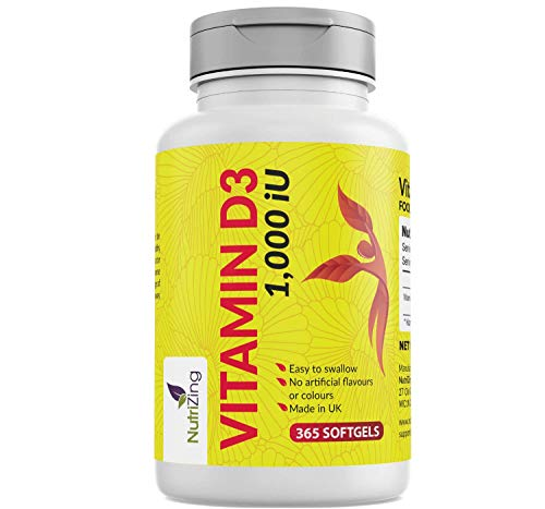 Vitamin D 1000iu (25μg) - 365 VIT D3 Softgels - Full Year's Supply - for Healthy Bones & Teeth - Vitamin D3 Supplement - High Absorption VIT D Cholecalciferol - Made in UK by NutriZing