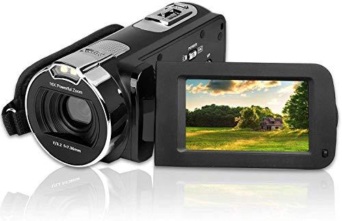 Videocamera Digitale,CamKing HDV-312 24MP HD 1080P Camcorder con Zoom Fotocamera Digitale Compatta16x con Schermo LCD da 3,0