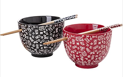JUNYFFF Porcelain Bowl Set, 2Pcs of Ramen Bowl with Two Pairs of Chopsticks, Soup Bowl, Japanese Style, Birthday, Christmas And Wedding Gift, 700Ml Japanese Style Bowl,A