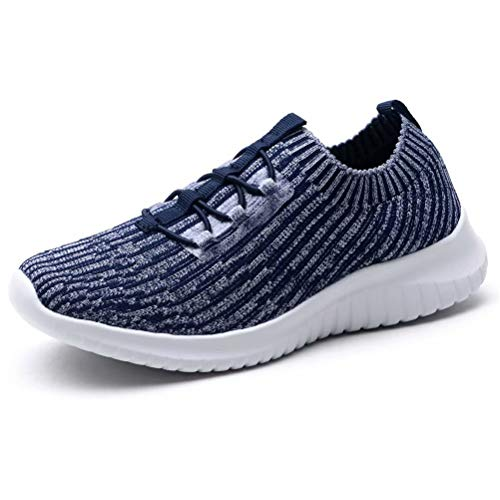 konhill Women's Comfortable Walking Shoes - Tennis Athletic Casual Slip on Sneakers 6.5 US Navy,37