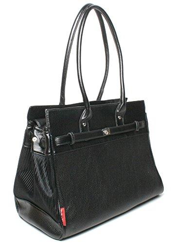 Bark-n-Bag Monaco Tote Pebble Grain, Black-Now With Exterior Zippered Pocket