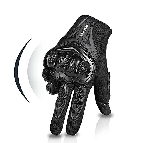 Par Guantes Dedo Completo PU Proteccion para Moto Bici Motocicleta Motorista puede pantalla táctil Talla XL Color Negro