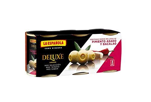 Deluxe aceitunas verdes rellenas de pimiento asado y bacalao pack 3 latas 50 g neto escurrido