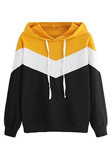 SweatyRocks Women's Long Sleeve Color Block Pullover Hoodie Sweatshirt Tops Black-Yellow S