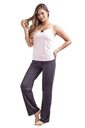 FAMILY NIGHTWEAR Pajama Cami Tank Top Short Sleeve with Long Pants Set (Black-Rose, Medium)