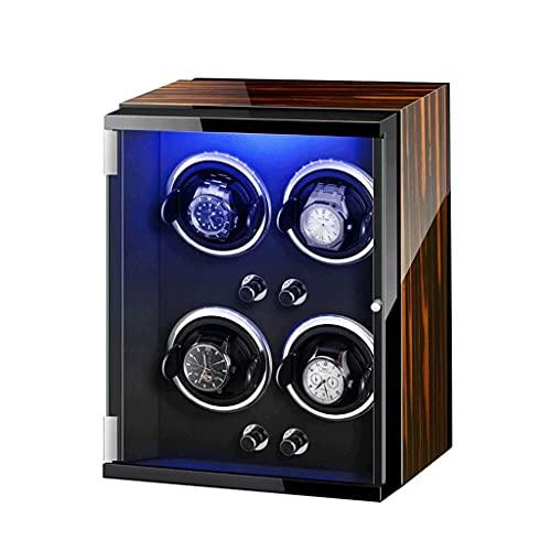 MRTYU-UY Enrolladores de Reloj LED Motor silencioso de Siete Colores 4 0 Almacenamiento Estuche de exhibición Caja Adaptador de CA Llave incluida Funciona con Pilas