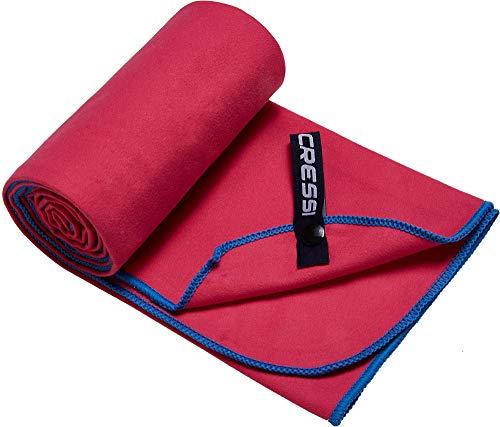 Cressi Microfibre Fast Drying Toalla Sport, Unisex Adulto, Rojo/Azul, 160x80cm