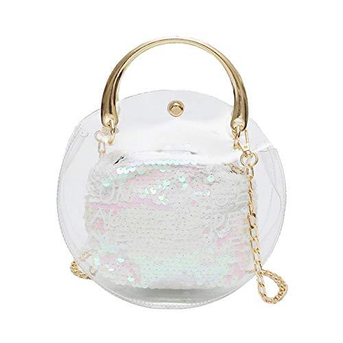 LTTGG Damen-Umhängetaschen Handtasche Schulter Umhängetasche transparente Gelee kleine Tasche 19,5x19,5x6cm@white