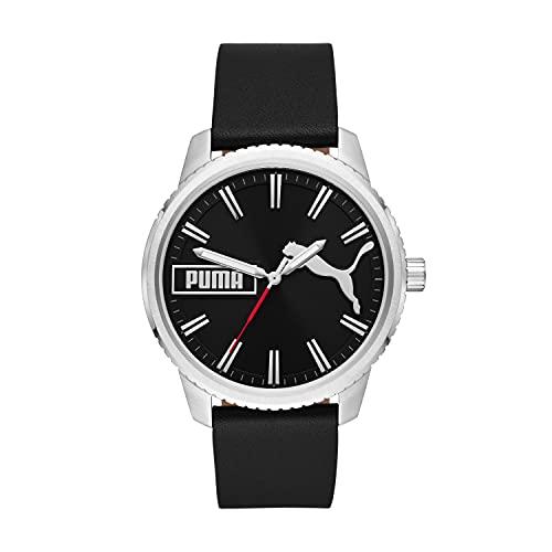PUMA Men's ULTRAFRESH Stainless Steel Quartz Watch with Leather Strap, Black, 20 (Model: P5081)