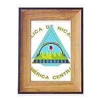 ニカラグア国章 フォトフレーム、デスクトップ、木製