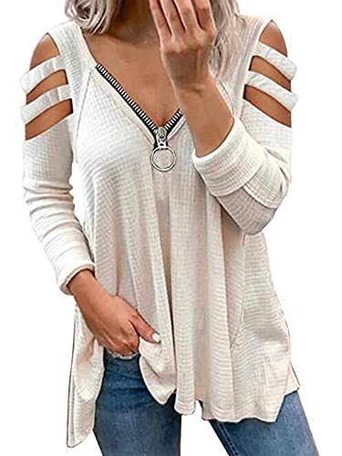 Blusa de manga larga para mujer con hombros fríos, con cremallera y cuello en V, plisada, Blanco, XXL