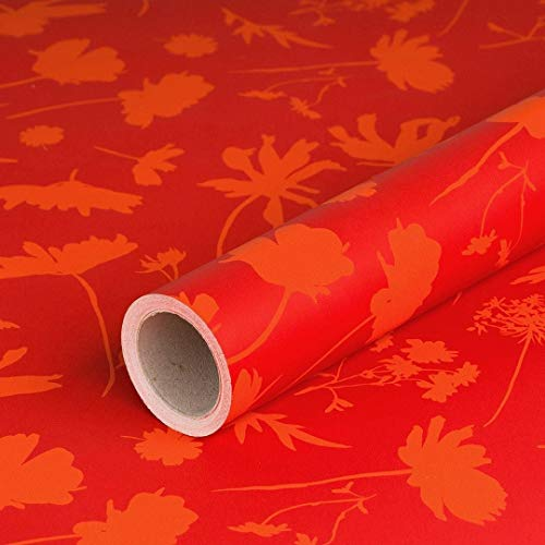 Geschenkpapier Rote Blumen, zweifarbig, Recyclingpapier, glatt, 70 g/m², Geburtstagspapier - 1 Rolle 0,70 x 10 m