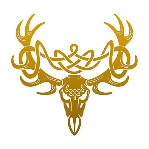 Dark Spark Decals Celtic Knot Deer Skull Buck - Gold 6 inch Vinyl Decal for Indoor or Outdoor use, Cars, Laptops, Décor, Windows, and More