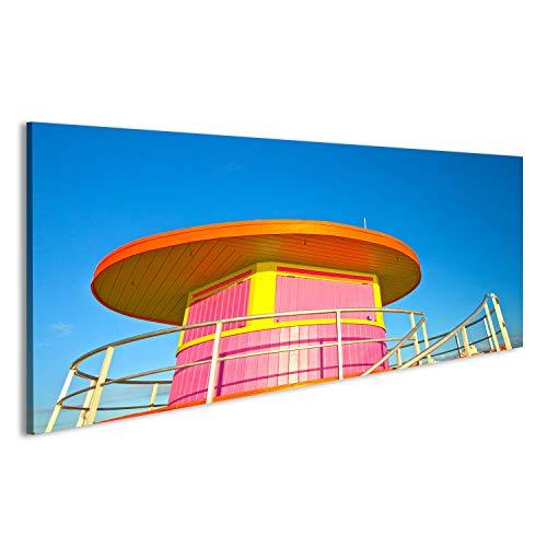 bilderfelix® Bild auf Glas Acrylglas Bilder Sonnenaufgang in Miami Beach Florida, mit einem Bunte Rettungsturm, Deko, Wanddeko CTL-2-ACRYL-10050mA