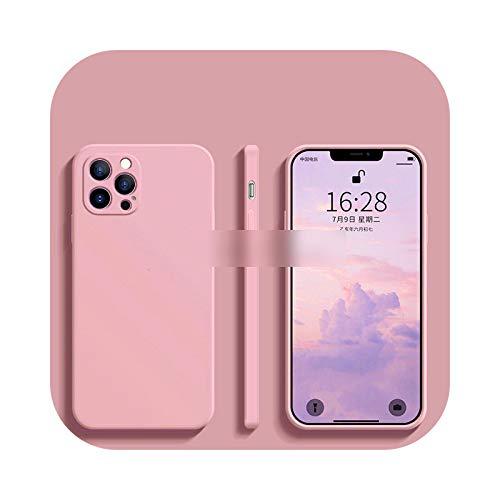 Funda de silicona líquida de lujo original para iPhone 12 11 Pro Max Mini X Xr Xs Max 7 8 6S Plus Se 2021 a prueba de golpes suave cubierta rosa para 11Pro Max 6.5