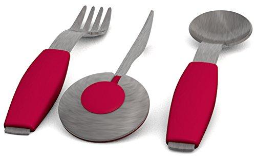 Ornamin Besteckset 3-teilig mit roten Griffkissen   Einhänder-Besteck mit Hilfsfunktion für intuitive Nutzung   Spezial-Besteck, Einhänder-Hilfsmittel, Essbesteck, Esshilfe