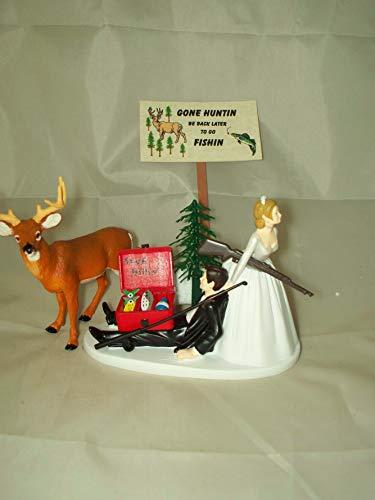 Humorous Redneck Wedding Deer Hunter Hunting Fishing Cake Topper
