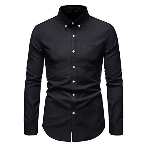 Camisa De Vestir De Manga Larga para Hombre Camisas De Botones Formales Formales De Negocios con Corte Entallado Liso Oxford con Bolsillo