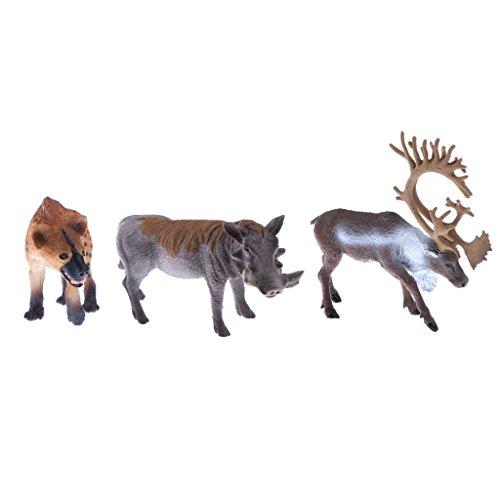 Modelo de Figura Animal Realista Reno Salvaje + Hiena Africa