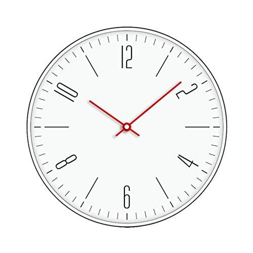 BGHYU Relojes de Pared Reloj de Pared Redondo nórdico de 12 Pulgadas Reloj de Cuarzo silencioso sin tictac Reloj Colgante con Pilas for Cocina/Oficina (Color : Red, tamaño : 12inch)