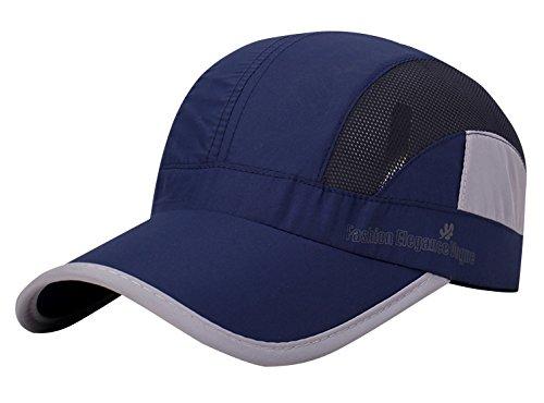 AIEOE Schnelltrocknend Snapback Cap Sommer Kappe Atmungsaktive Sport Caps Outdoor Sonnen-Kappe für Wandern, Bergsteigen, Joggen, Radfahren usw - Dunkelblau
