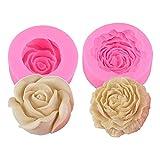 Rose Flower Soap Molds, Peony Flower Silicone Candle Molds Soap Molds Clay Mould Silicone Jello Sugar Chocolate Fondant Molds Cake Decorating ( 2 Pcs )