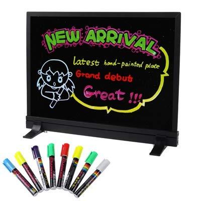 FNMYH Tablero de Mensajes Fluorescentes LED Colorido con 8pcs Resaltador de bolígrafos para el Estudio de la Familia de oficinas, etc, tamaño: 40 x 30 cm (Color : Black)