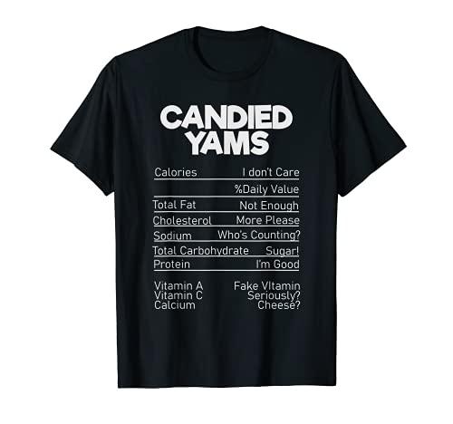 Divertido Navidad Accin de Gracias Confitadas Yams Datos Nutricionales Camiseta
